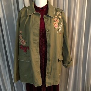 Army green, rose embroidered jacket